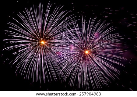Two big fireworks - stock photo
