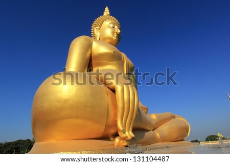 Two Big golden buddha statue/Big golden buddha statue in the temple of Thailand/Wat Maung ,Angthong Province, Thailand - stock photo