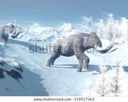 Two big mammoths walking slowly in the snowy mountain against the wind - stock photo