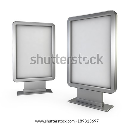 Two billboards. 3d illustration isolated on white background  - stock photo