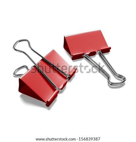 Two binder clips on a white background isolated - stock photo
