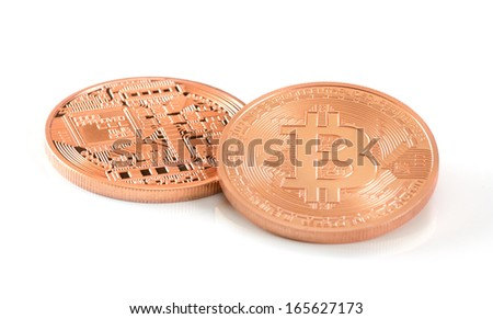 two bitcoins - bit coin BTC the new virtual money - stock photo