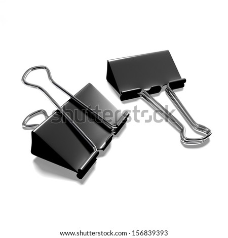 Two black binder clips on a white background isolated - stock photo
