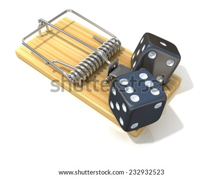 Two black game dices, like bait, in wooden mousetrap. 3D rendering illustration, isolated on white background.  - stock photo