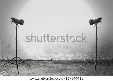 two black lamps in studio of gray  - stock photo