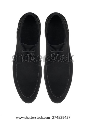 Two black male fashion suede shoes on white background - stock photo