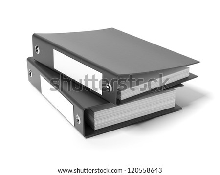 Two black ring binders - stock photo