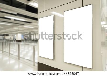 Two blank billboard in public transport - stock photo