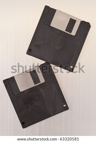 Two Blank Computer Floppy Discs - stock photo