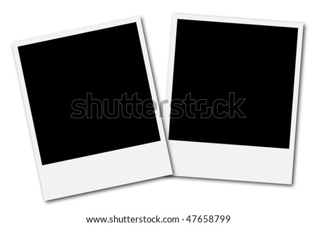 Two blank frames ready to insert photos and create a photo collage - stock photo
