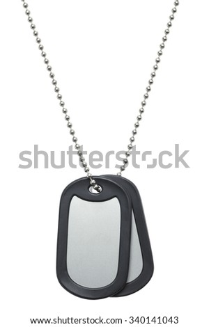 Two Blank Hanging Military Dog Tags Isolated on a White Background. - stock photo