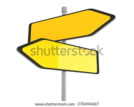 Two blank road signs pointing in the different directions, 3d illustration - stock photo
