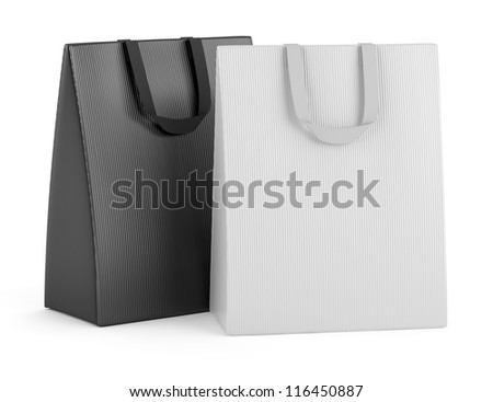 two blank shopping bags isolated on white background - stock photo