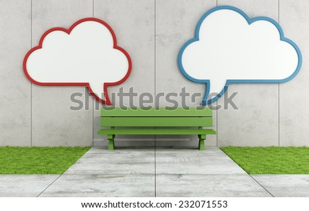 Two blank street billboard  with the form of a cloud on concrete wall with bench - 3D Rendering - stock photo