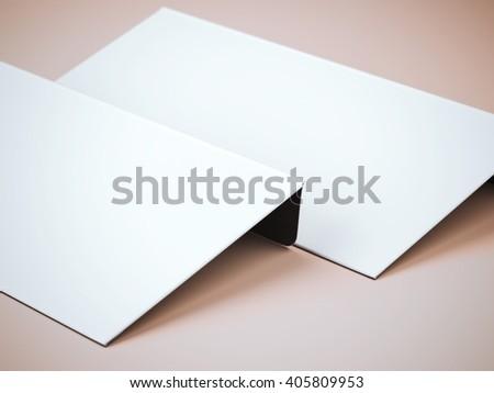 Two blank white envelopes on orange background. 3d rendering - stock photo
