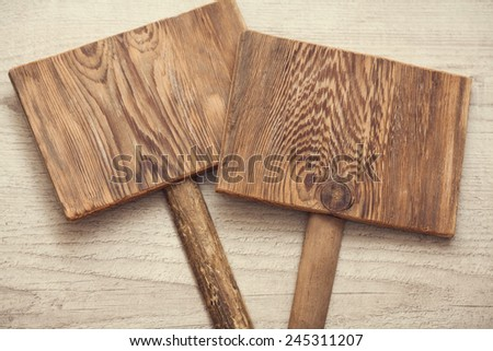 two blank wooden boards. information sign  - stock photo