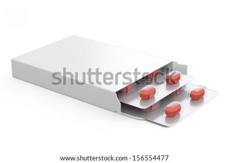 two blisters of red pills in white package - stock photo