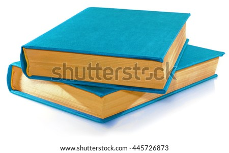 Two blue books isolated on white on white background. - stock photo