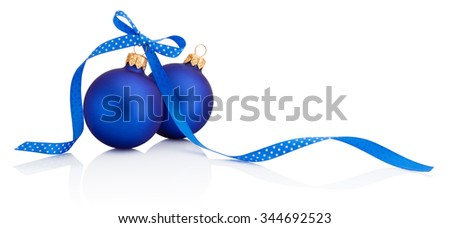 Two Blue Christmas balls with ribbon bow Isolated on white background - stock photo