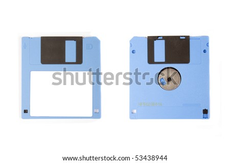 Two blue floppy disks isolated on white background - stock photo