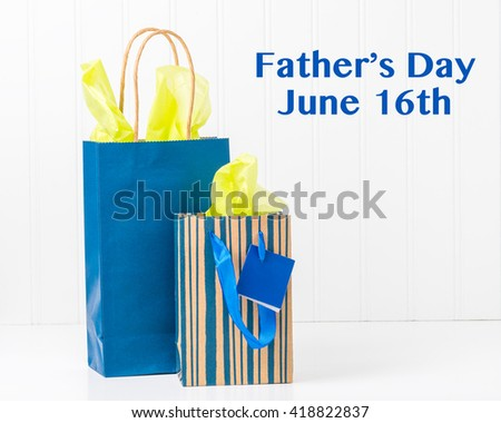 Two blue gift bags with tissue for Fathers Day. - stock photo