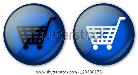Two blue magenta buttons with baskets - stock photo