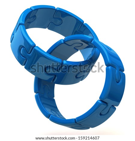 Two blue puzzle rings isolated on white background - stock photo