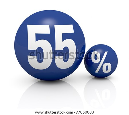 two blue spheres, one with the number 55 and the other with the percent symbol (3d render) - stock photo