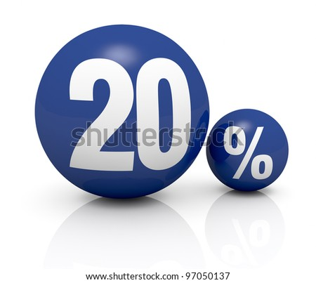 two blue spheres, one with the number 20 and the other with the percent symbol (3d render) - stock photo