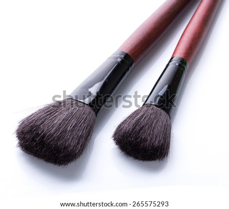 Two blush on brush on white background - stock photo
