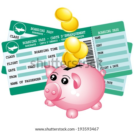 Two boarding passes and piggy bank icon. Save for a trip.  - stock photo