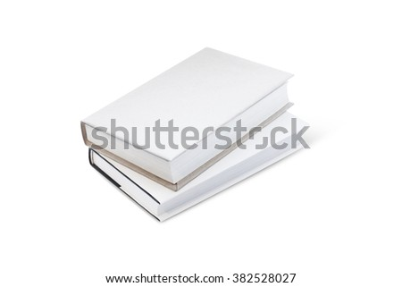 Two books with white cover on white background - stock photo