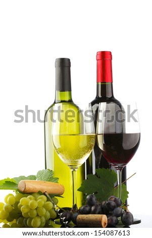 two bottle of red and white wine - stock photo