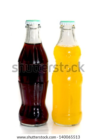 two bottles of soda isolated on a white background - stock photo