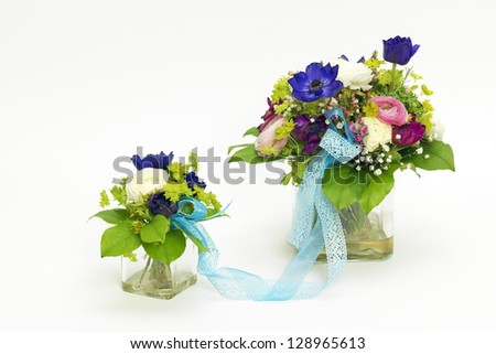 Two bouquets for mother and child - stock photo