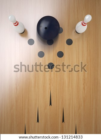 Two Bowling pin on hardwood floor, split position. - stock photo