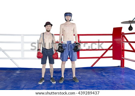 Two boxer on a boxer ring isolated on white background - stock photo