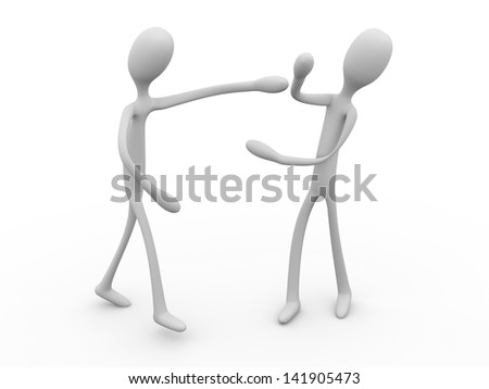 Two boxing cartoon figures. 3d illustration. - stock photo
