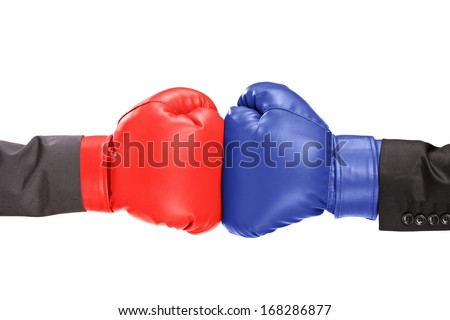 Two boxing gloves isolated on white background - stock photo