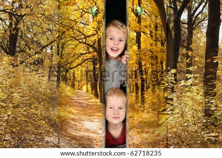 two boys from Footpath among yellowed trees in autumnal park doors collage - stock photo