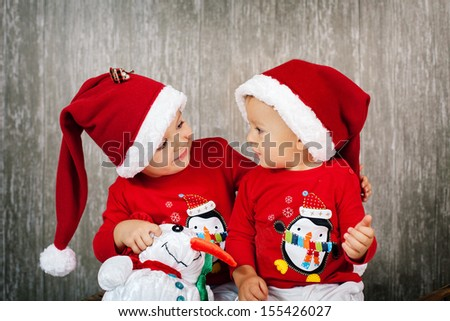 Two boys on christmas - stock photo