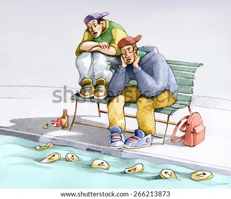 two boys sitting on a bench watching the clocks go fluttering, metaphor of passing time - stock photo