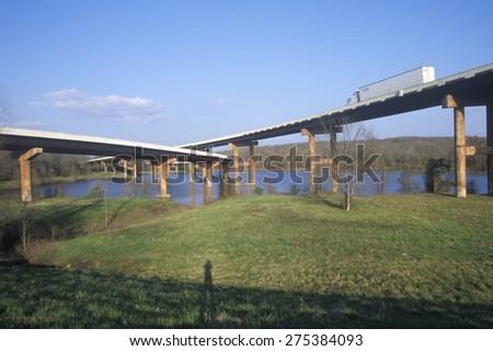 Two bridges crossing in Little Rock, Arkansas - stock photo