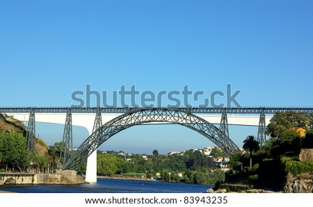 Two bridges on Douro River. - stock photo
