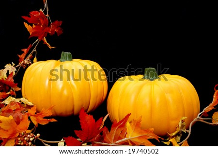 Two bright orange pumpkins arranged against a black background with some fall leaves to the left. - stock photo