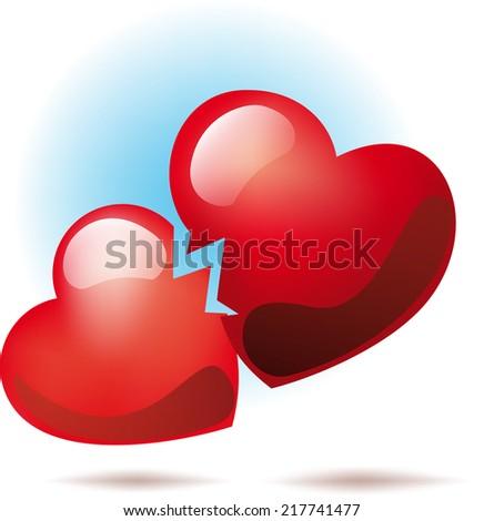 Two broken heart symbol between them went crack - stock photo