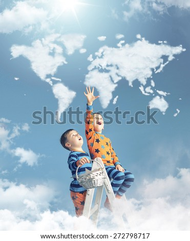 Two brothers and cloud world map - stock photo