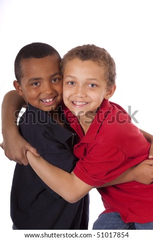 Two brothers with loving hug - stock photo
