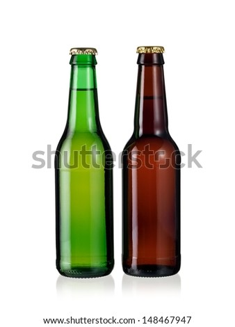 Two brown and green beer bottles - stock photo
