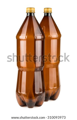 Two brown empty plastic bottles isolated on white background - stock photo